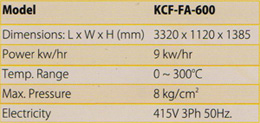 KCF-FA-600 - Technical Specifications